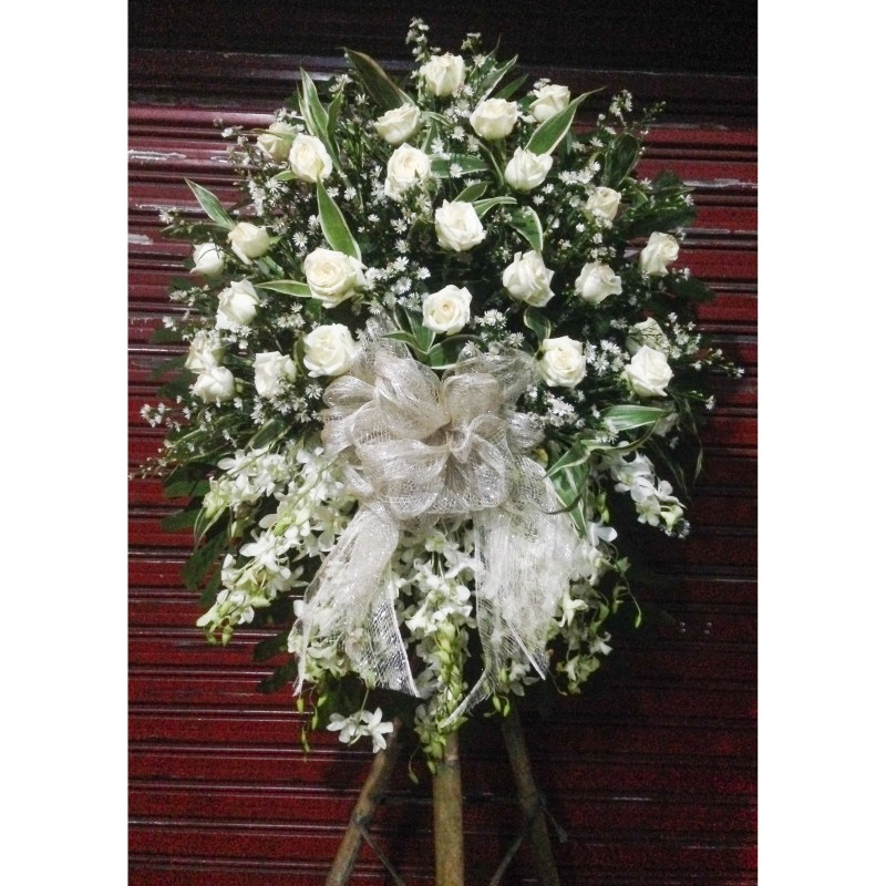 White orchid stand ii funeral stand tins flower shop pangasinan izmirmasajfo